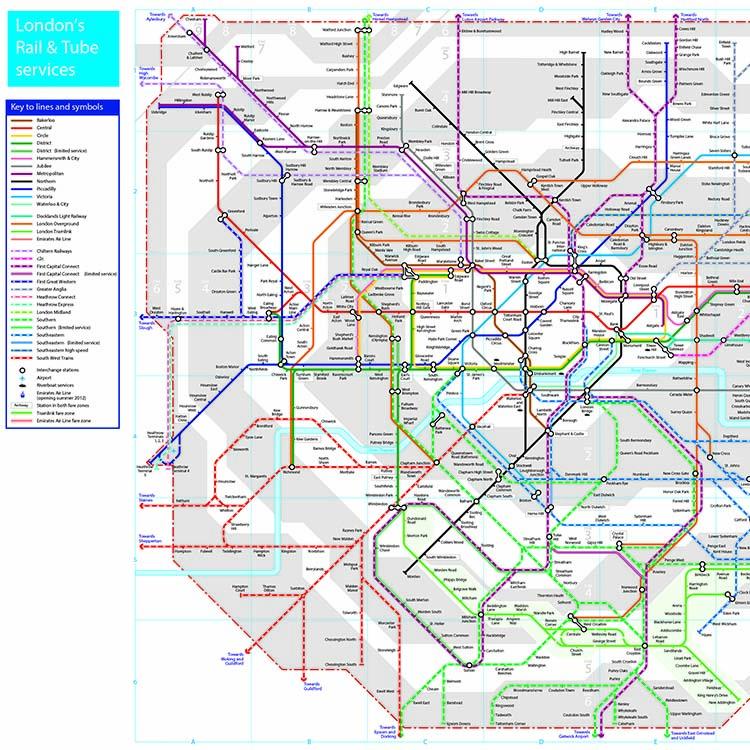 London tube n rail map