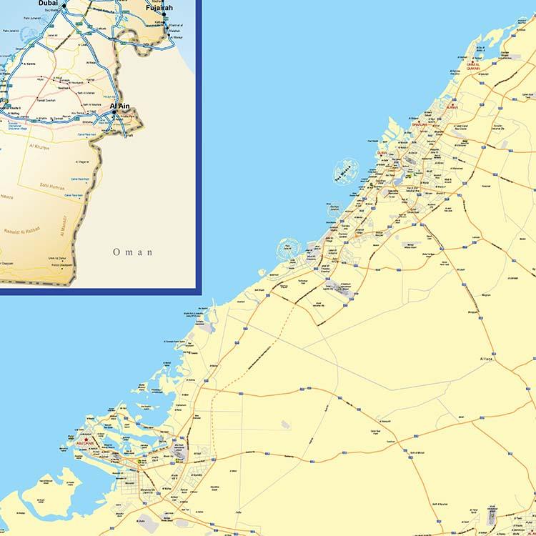 UAE and North emirates w118.9 X h84.1cm