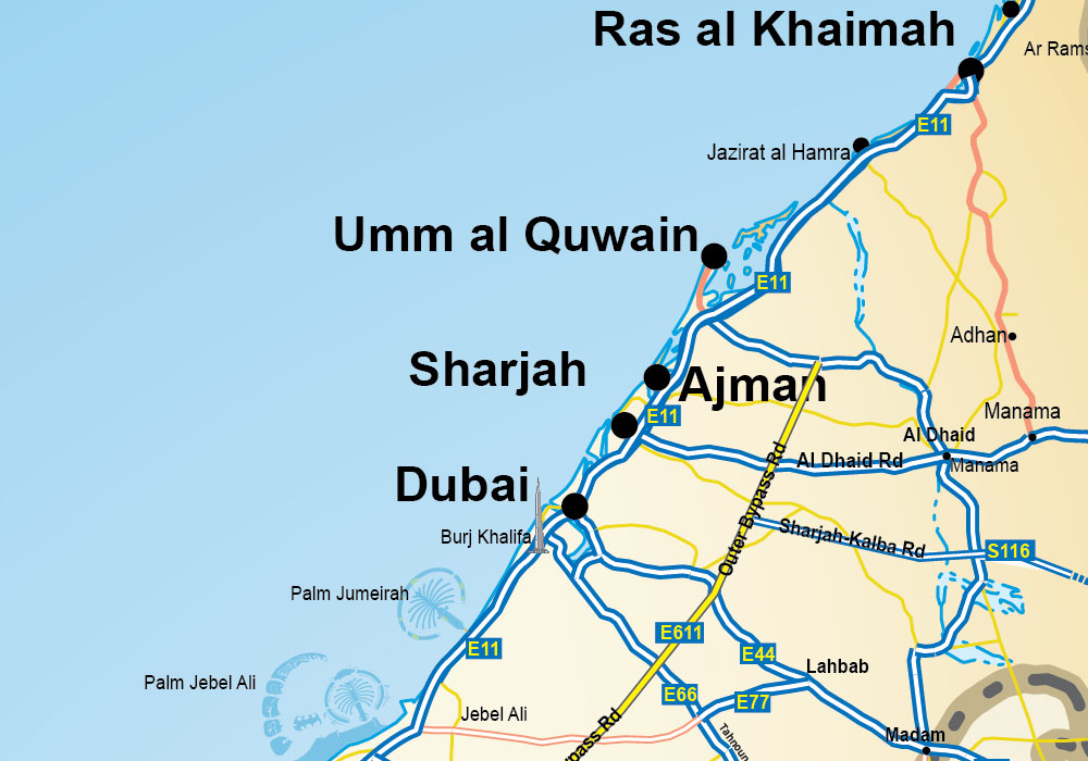 UAE and North emirates map_zoom1